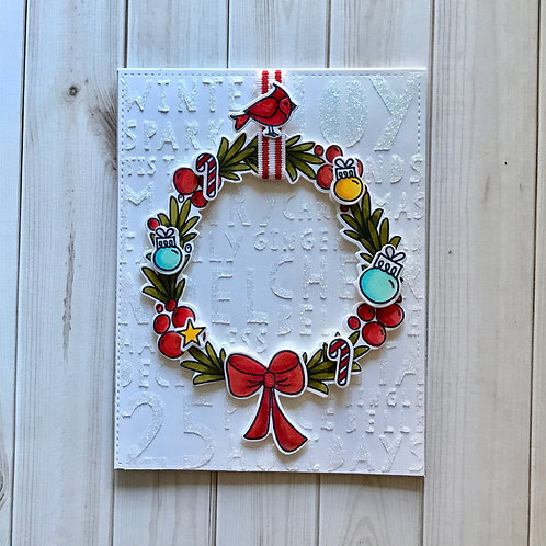 Glittery Wreath Christmas Card