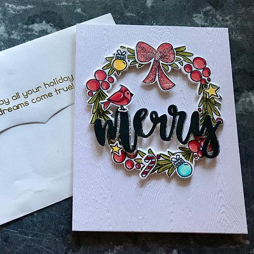 Merry Wreath Christmas Card