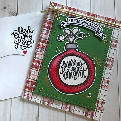 Merry & Bright Blank Christmas Card