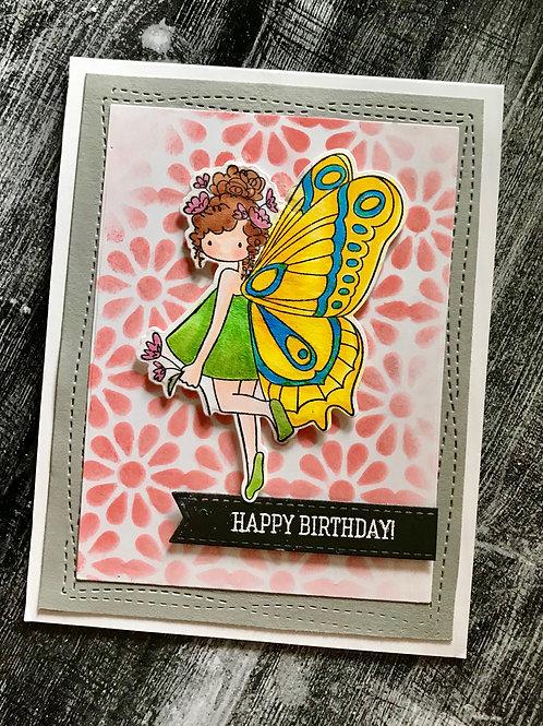 Butterfly Girl Birthday Card