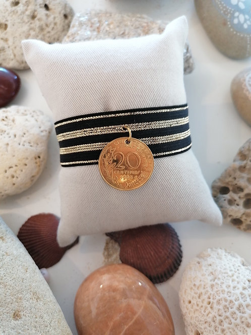 Bracelet Manchette Elastique 20 Centimes, Or
