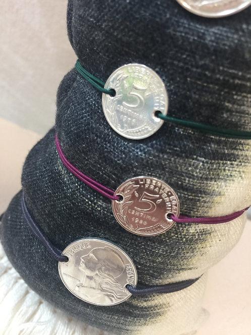 Bracelet 5 centimes Argent