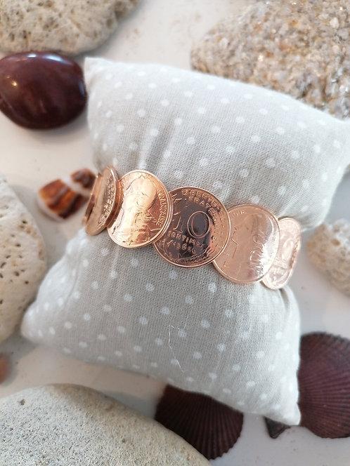 Bracelet jonc soudé 10 centimes Or Rose