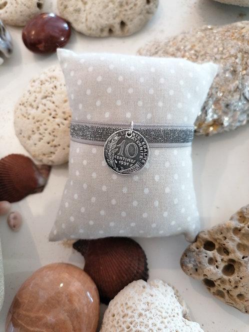 Bracelet Elastique tout paillettes 10 Centimes Argent