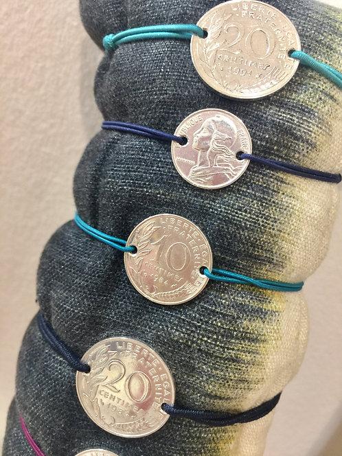 Bracelet 10 centimes Argent