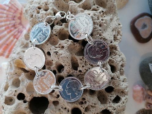 """Bracelet """"Révolution"""" Pièces d'anciens francs Argent"""