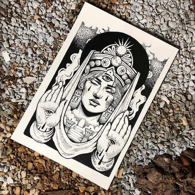 Hohepriesterin Dotwork Tarotkarte