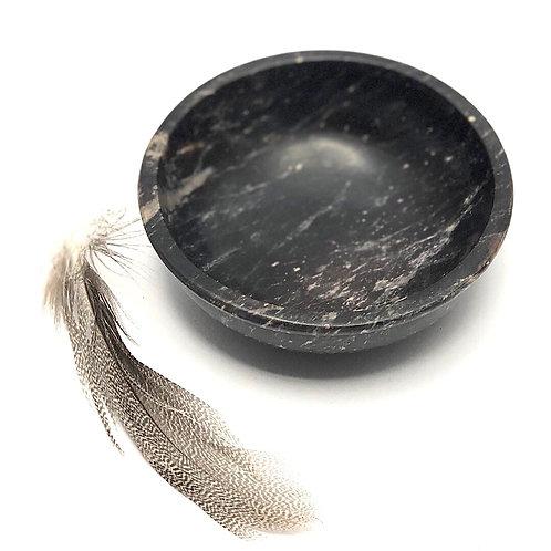 Schlichte schwarze Specksteinschale 10,5
