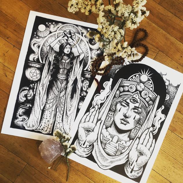 Mäßigkeit und Hohepriesterin von Sarah Rosa Helfen Tarotkartenillustration