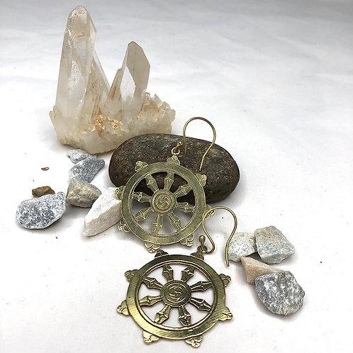 Buddhistisches Dharma Rad Ohrringe