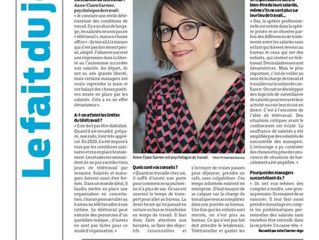 """""""Des conseils pour ne pas subir le télétravail"""", interview de Presse Océan édition du 29/04/21"""
