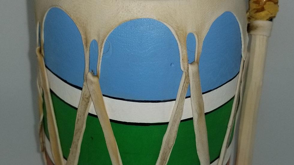 """Painted Deer Hide Drum 5"""" x 7"""""""