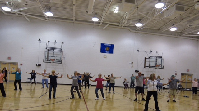 Participants work on balance at NWTC in Aurora, Wisconsin