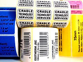 Printed labels. Printed in house at Cradle Technology Services. Printed barcodes and labels.