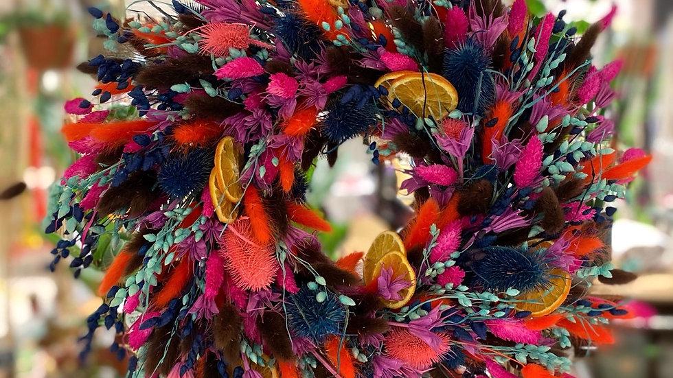 Multi-Coloured Dried Door Wreath