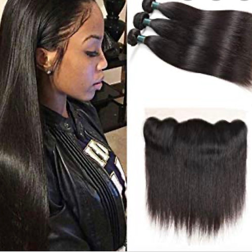 Raw straight hair frontal bundle