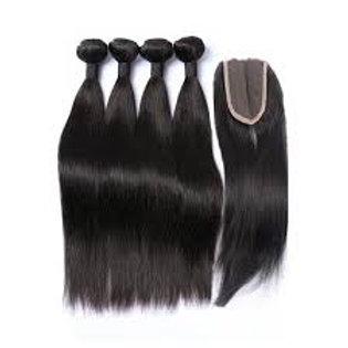Raw straight hair closure bundles