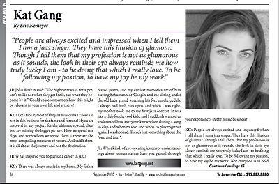Kat Gang in Jazz Inside Magazine