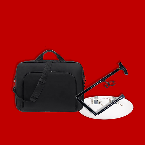 KIT:  Folding Cane, Crutch Caddy, & Travel Bag
