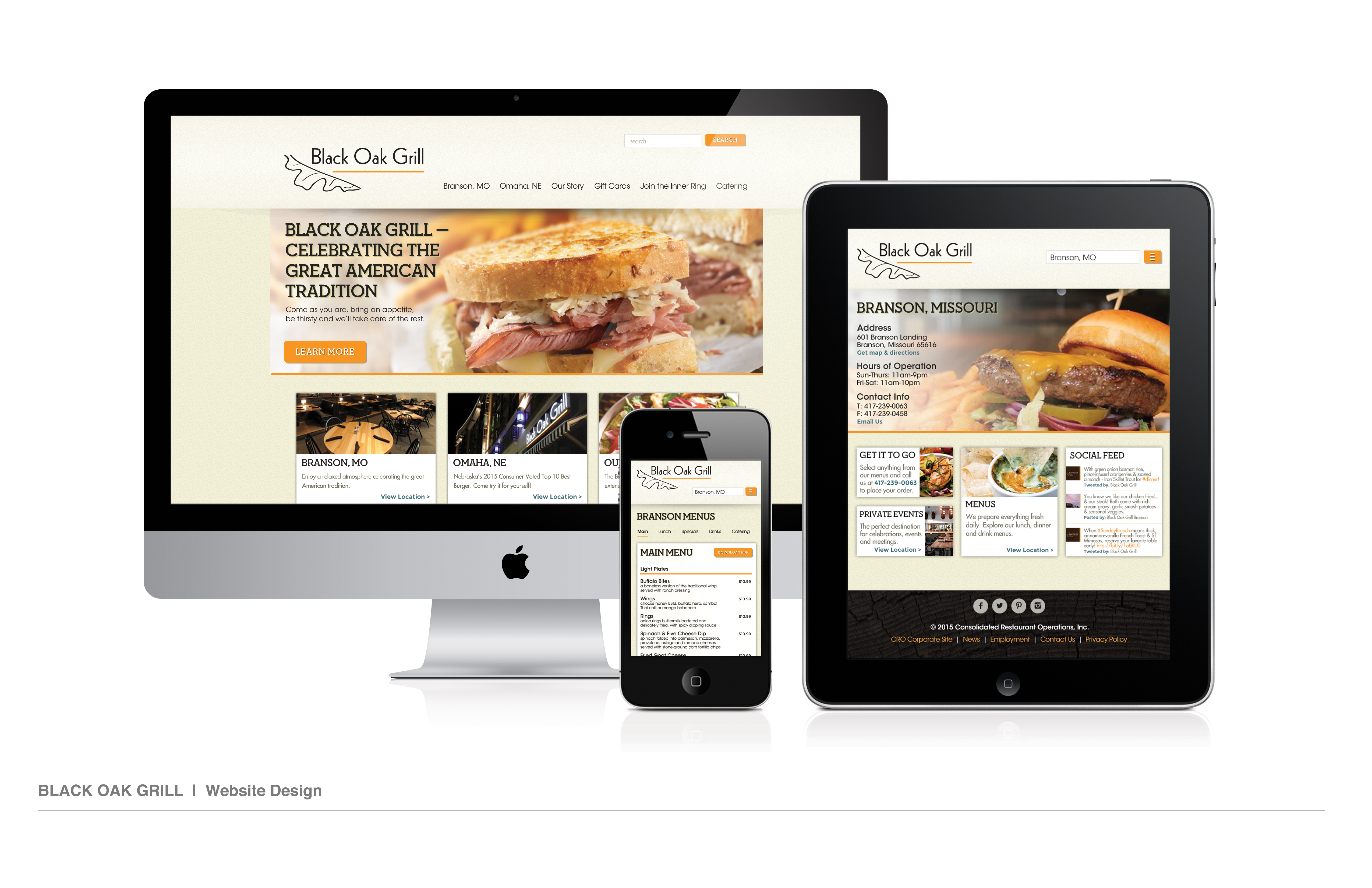 Black Oak Grill Website