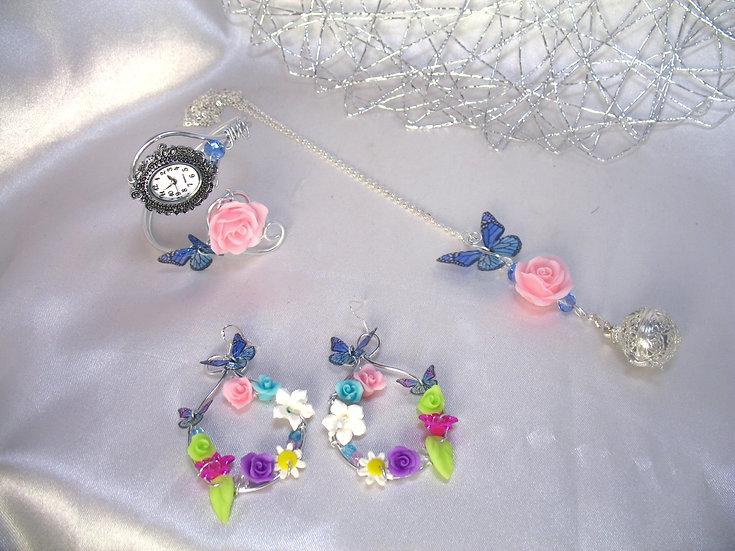 Bola grossesse Rose blanche, papillon arc en ciel RESERVE Ludivine Pascal