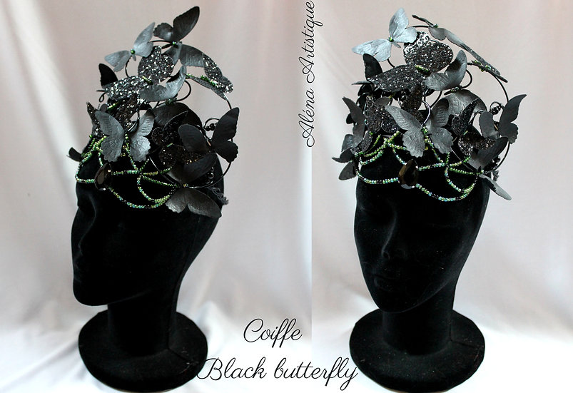 Coiffe Black butterfly