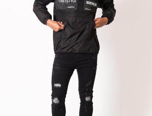 Patch destroy reflective jeans black