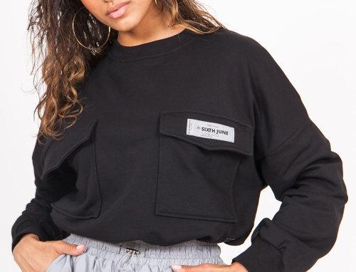 Logo reflective sweatshirt black