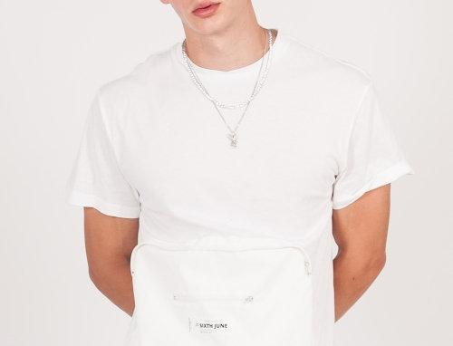 Large pocket reflective t-shirt white