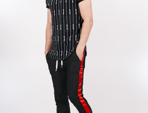 Baseball stripes joggers black red