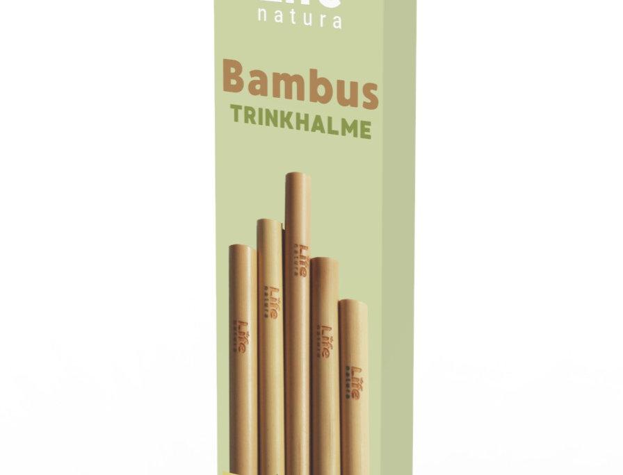 Life Natura -Nachhaltige Mehrwegtrinkhalme aus Bambus - 5 Stk. + Reinigungbürste