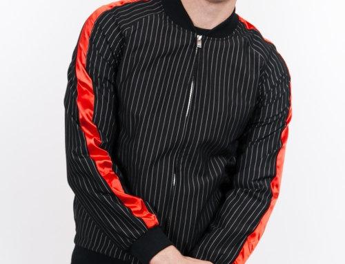 Baseball stripes hoodie black red