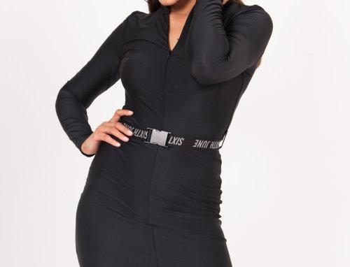 Long sleeves buckle dress black