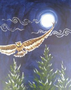 Silver Moonlight Owl