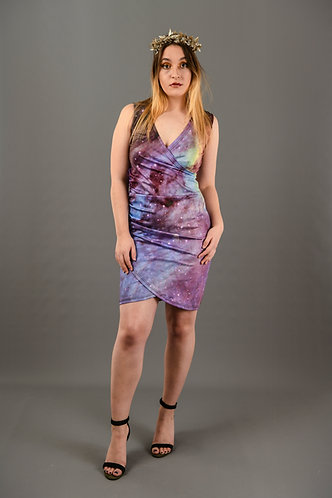 Deep Purple Rainbow Wrap Front  Bodycon  Dress