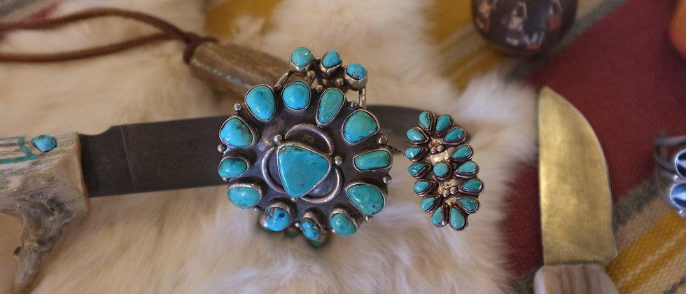 1960s Fox Mine Turquoise Bracelet &  Matching Ring