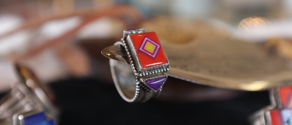 Coral & Sugilite Ring