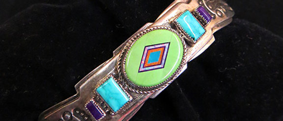 Gaspeite, Turquoise, Opal, & Sugilite Bracelet