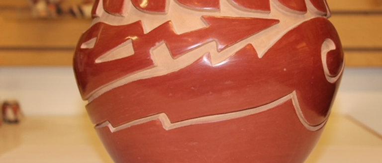"""Santa Clara """"Avanyu"""" Red Vase"""
