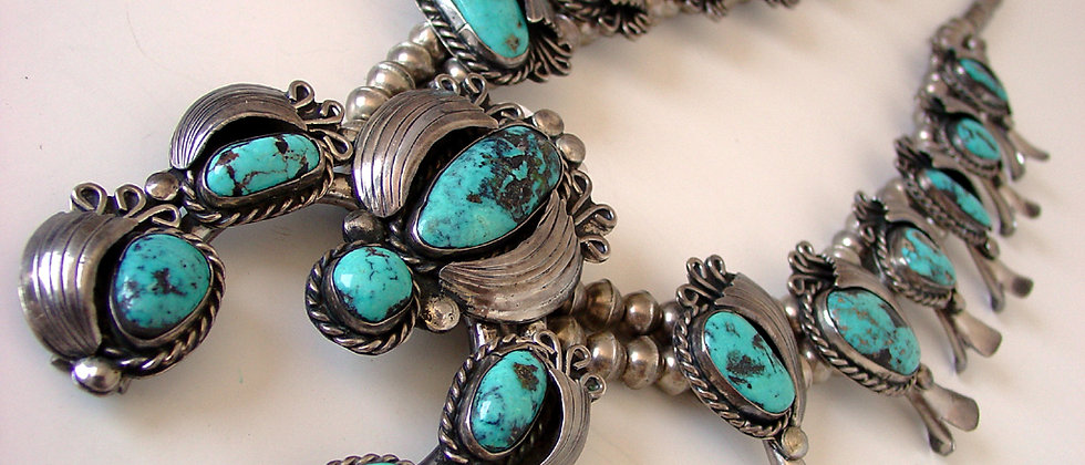 1970s Persian Turquoise Squash Blossom Necklace