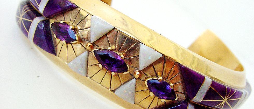 14k Gold, Opal, Sugilite & Amethyst Bracelet
