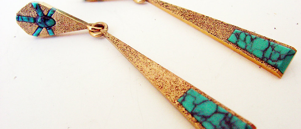 14k Gold & Spider web Turquoise Earrings