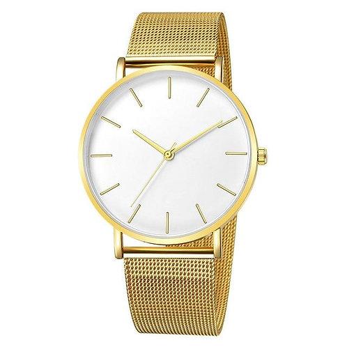 Lavish Watch (Gold & White)