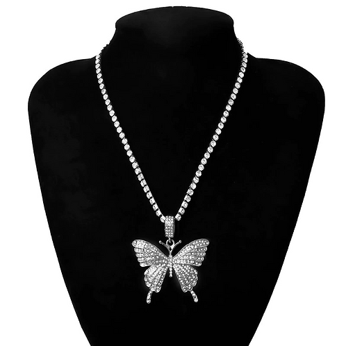 ICED OUT BUTTERFLY CHAIN SET