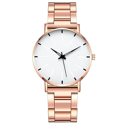 Minimalist Watch (Rose Gold & White)