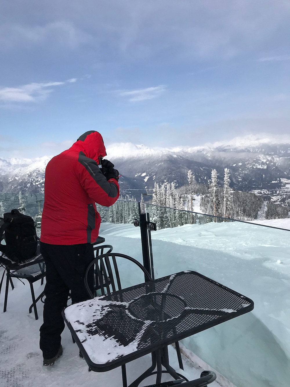 David Neve at the top of Whistler Mountain taking a picture during -32 degress Centigrade weather, even though it was sunny.