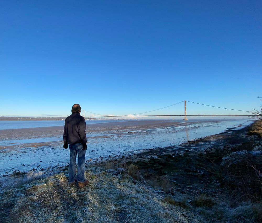 Myself (David Neve) looking onwards to the Humber Bridge.