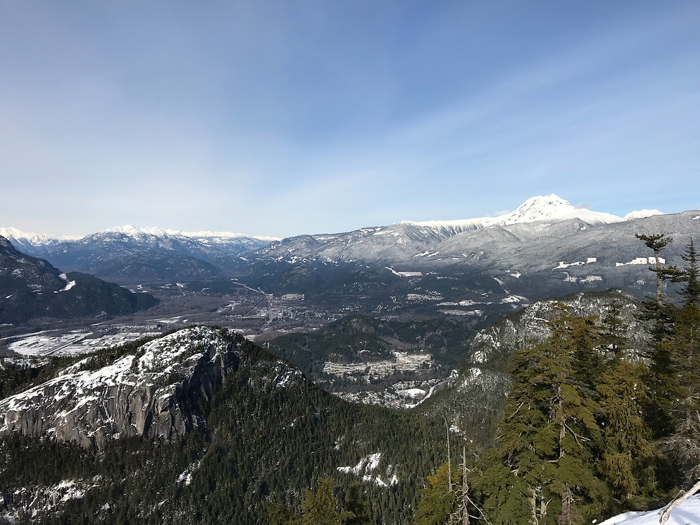 The View of Squamish, BC Canada from teh Sea-To_Sky Gondola attraction.