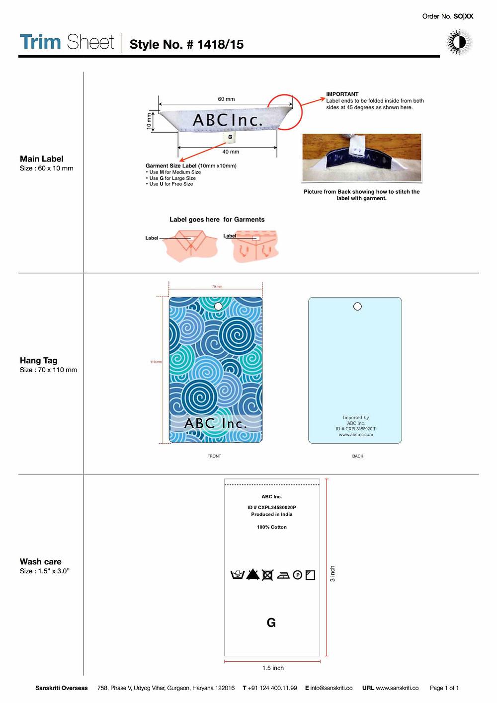 Trim Sheet
