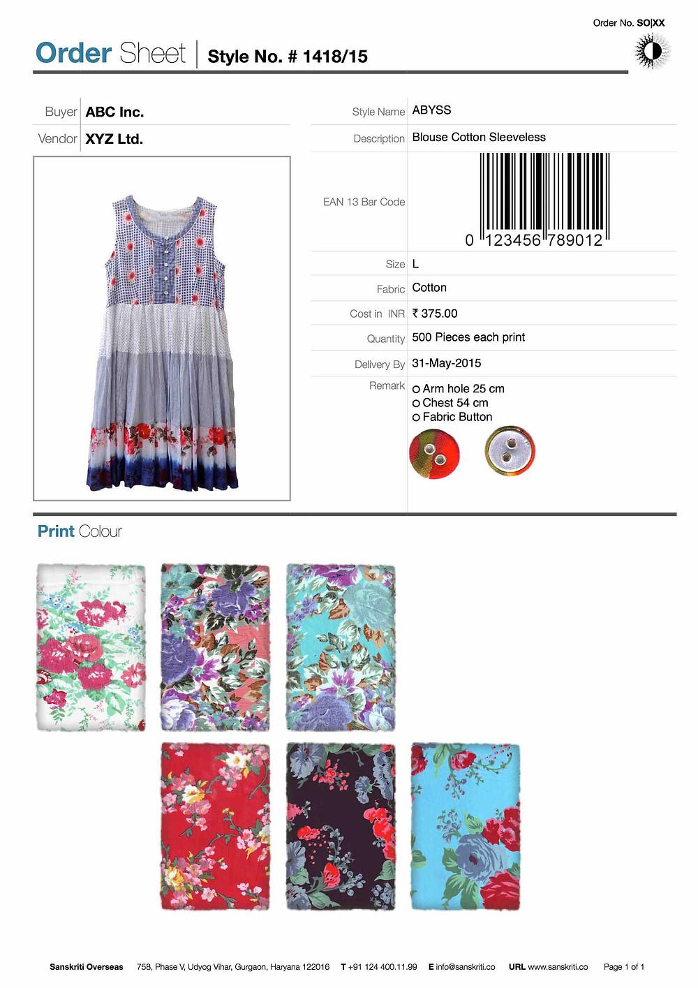 Order Sheet